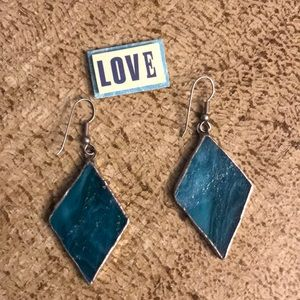 👠 Diamond shaped hand made aqua earrings